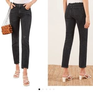 Reformation Black Cropped Jeans